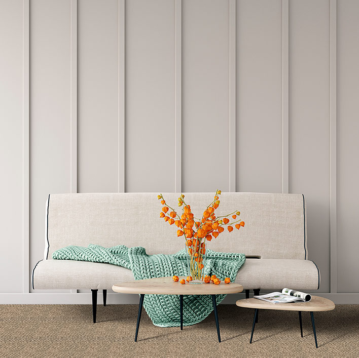 visual treat: herringbone pattern of astoria in smoke plays well with all styles