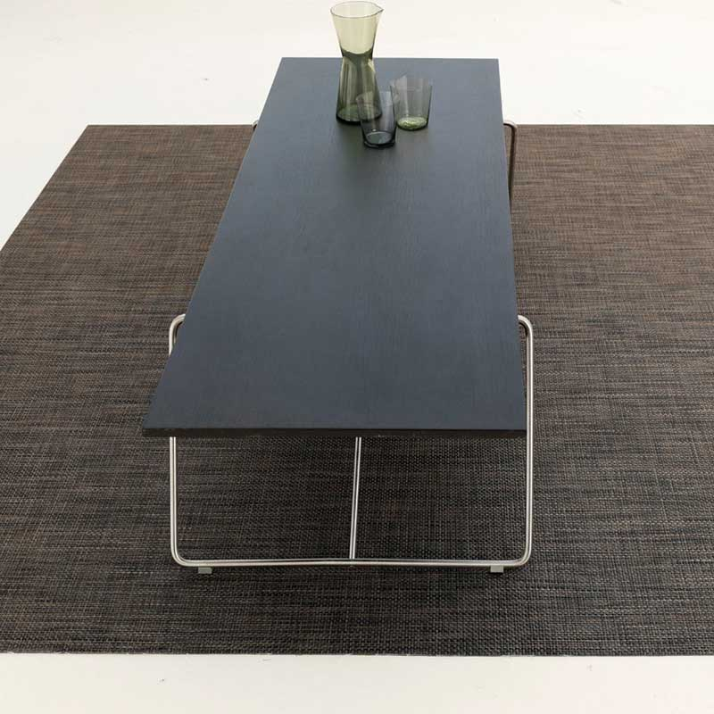 for your dining area: chilewich basketweave rug in color earth under a dining table