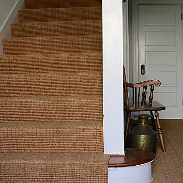 contract coir in wall-to-wall installation on stairs and in hallway