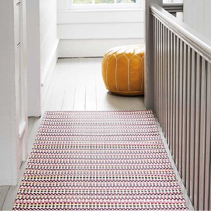 cheerful interplay of color & weave: heddle hall runner rug in color pansy