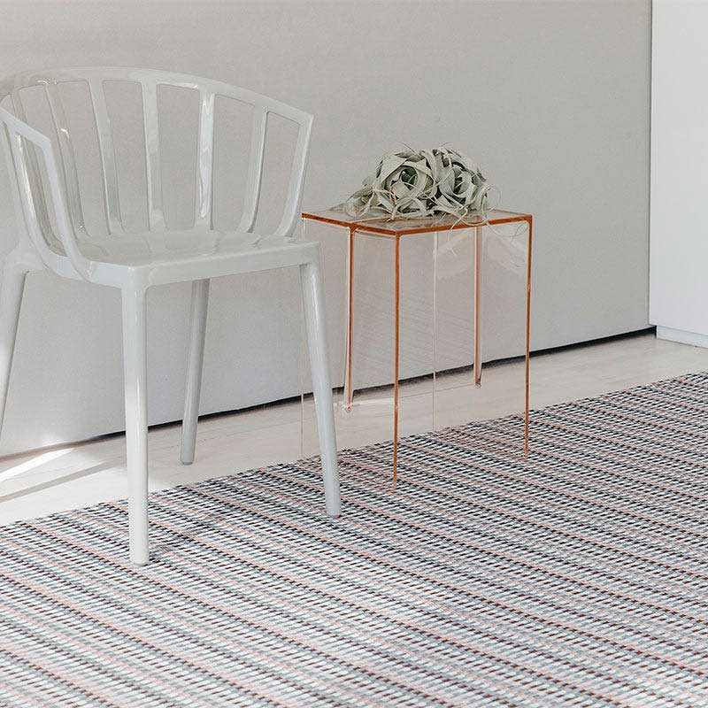 durable & delightful: heddle custom area rug under chair & side table, in color parade