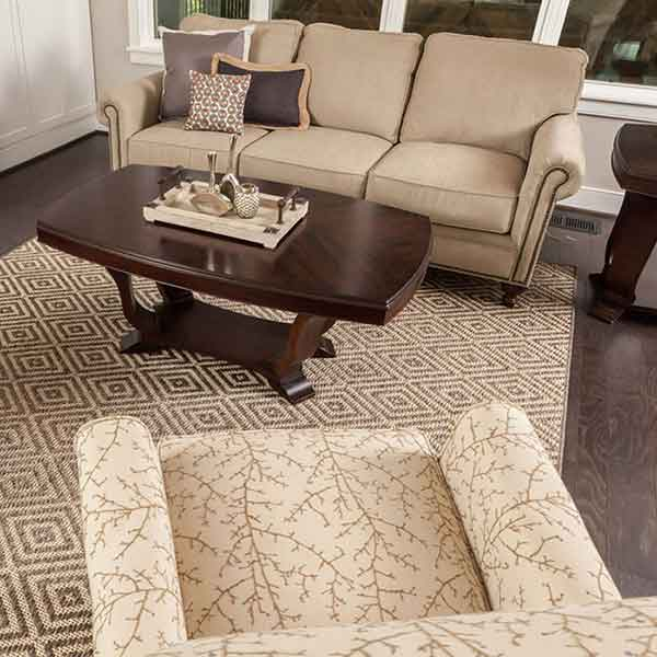 milan area rug shown in timber