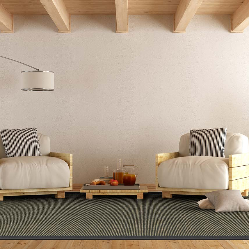 bouclé texture of livos & the duotone color of gravel add a tailored look (bound with basketweave linen in black)
