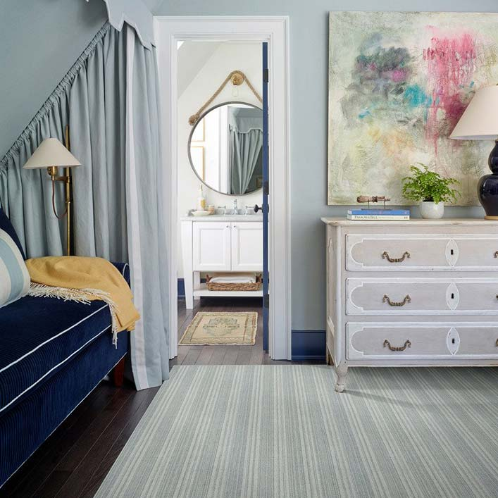 fresh stripes: large area rug of pimlico all-wool weave in color sky