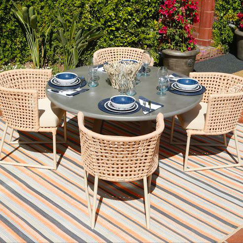 comfort with style: increase comfort & style in outdoor dining spaces with a nautical area rug