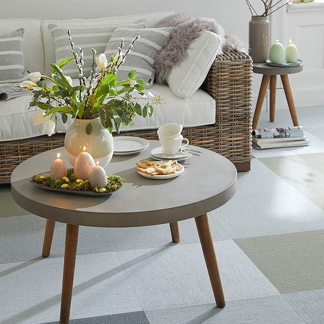 mix & match: combine prep tiles for a soothing foundation in your living room