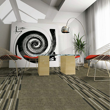 high-design mixing in stripe tiles in a lobby