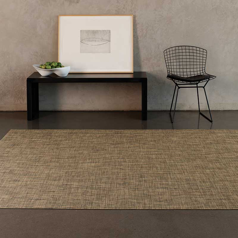 modern floor cover: chilewich basketweave custom area rugs available in numerous colors, shown here in bark