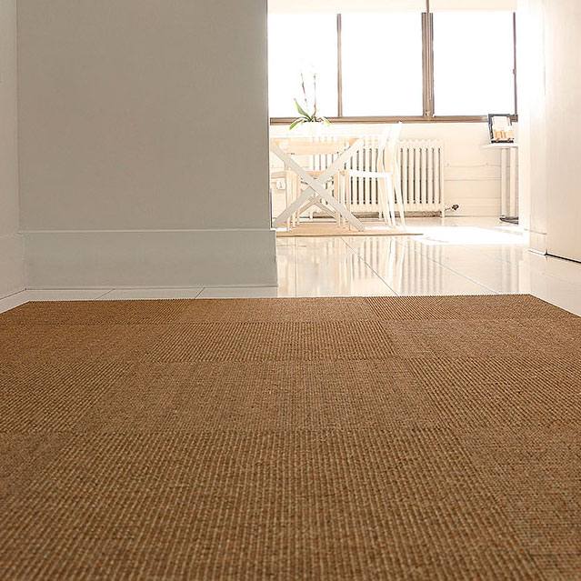 make an entrance: sisal tiles can fit any space (shown in color sahara with quarter turn pattern)