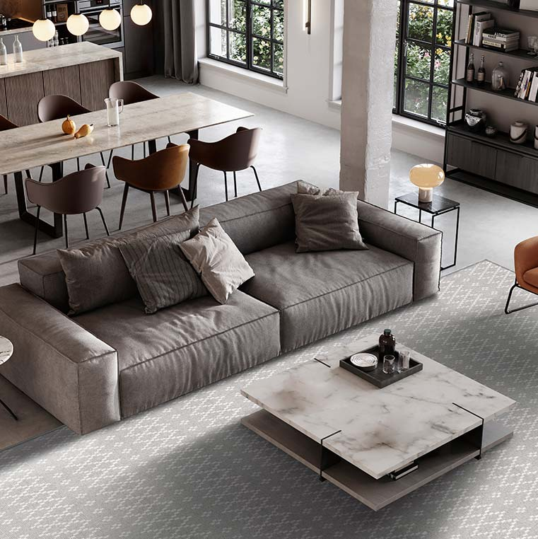 add visual interest to your living room view with a skyline area rug (color steel ivory)