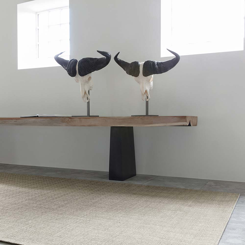 chic linen blend area rug shown in color timber