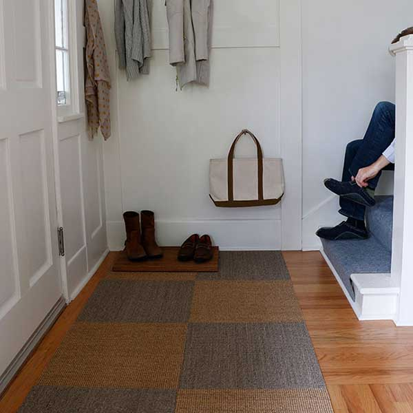checkerboard style with sisal tiles in your home entryway (shown in driftwood and sahara)
