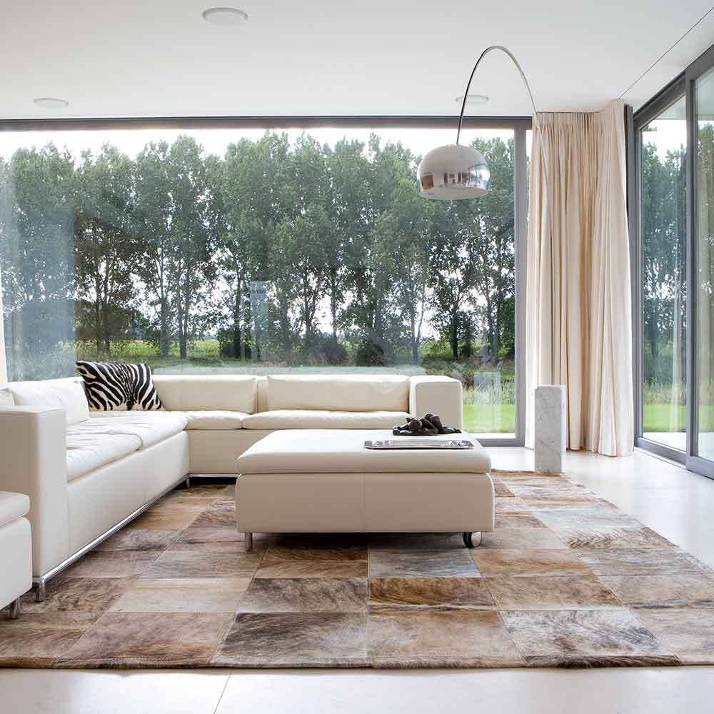 eye-catching: natural tones of pinto in a living room area rug